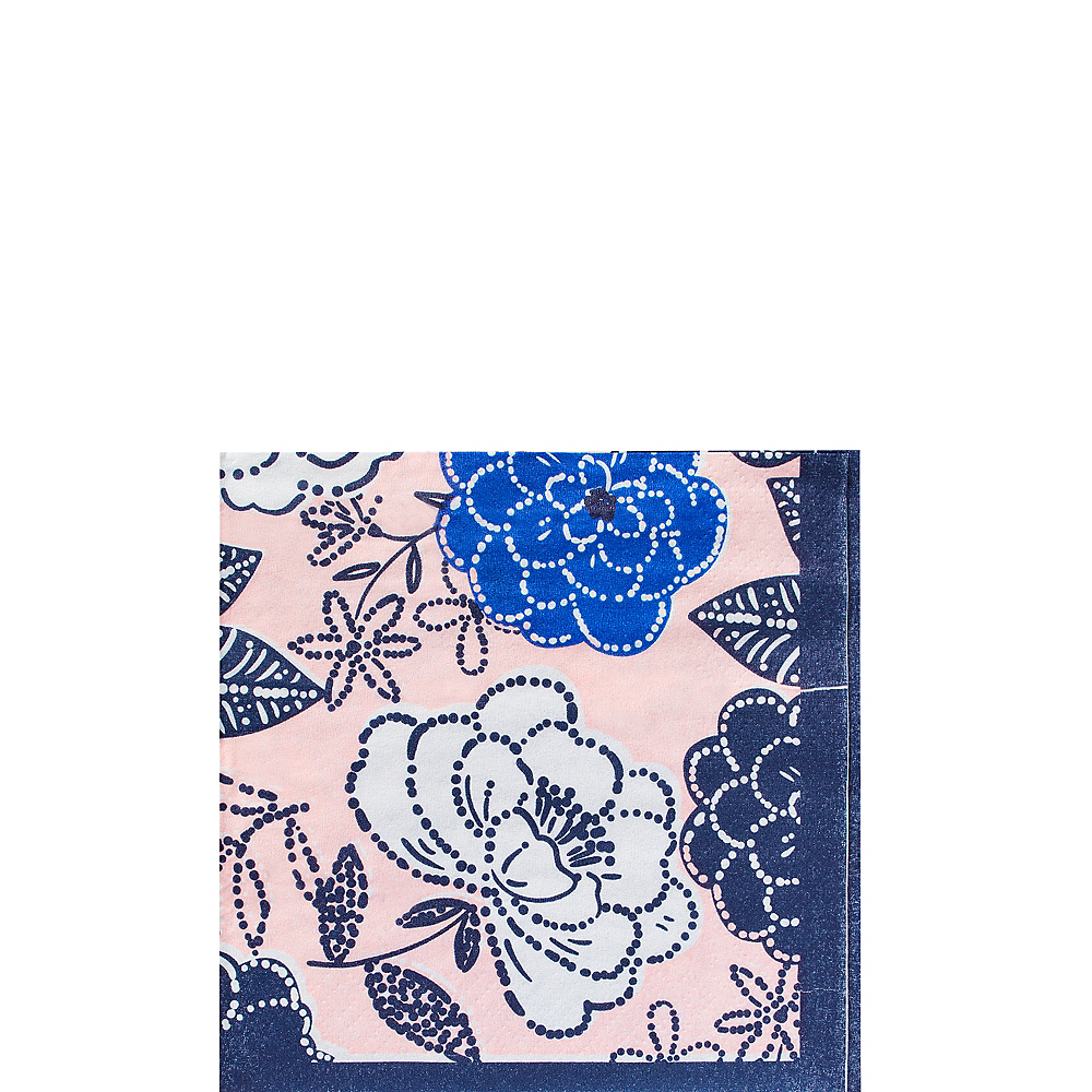Royal Blue Floral Beverage Napkins 16ct Image #1