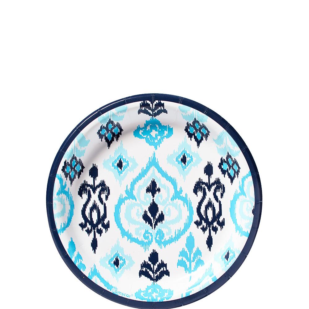 Caribbean Blue Ikat Dessert Plates 8ct Image #1