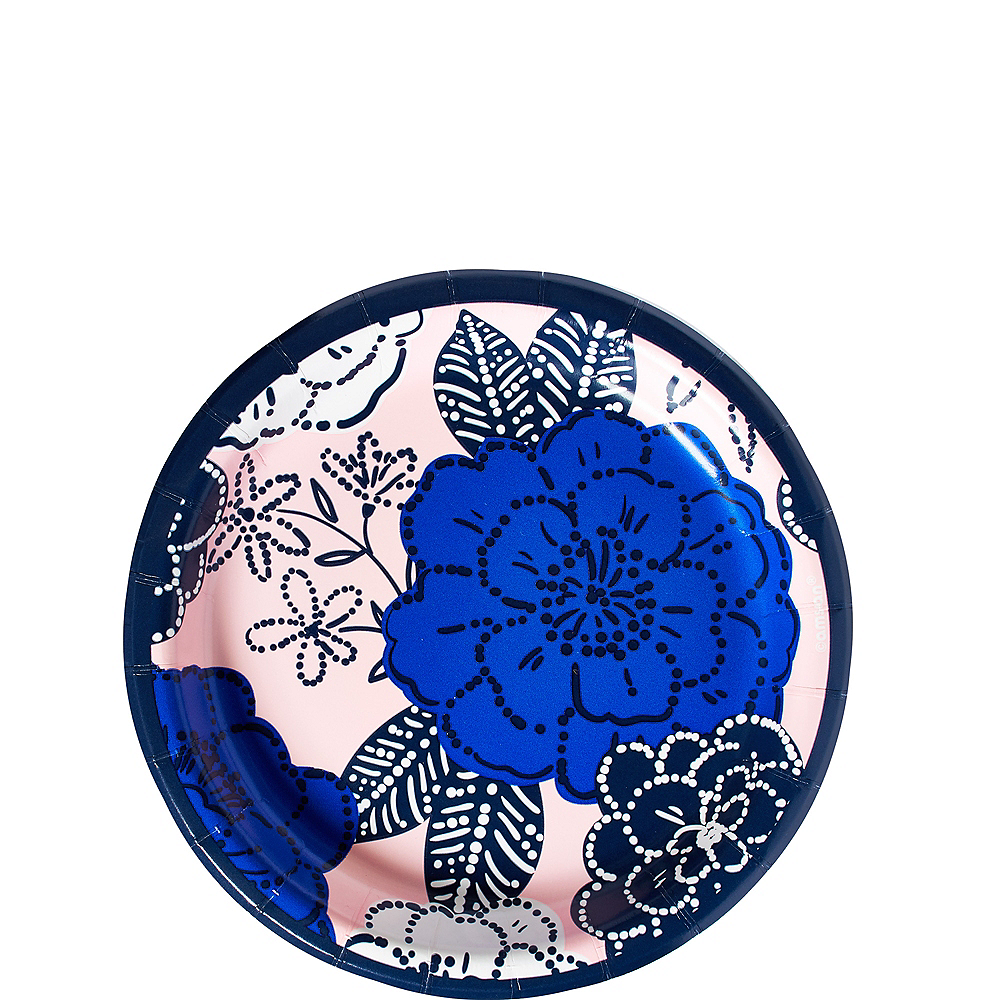 Royal Blue Floral Dessert Plates 8ct Image #1