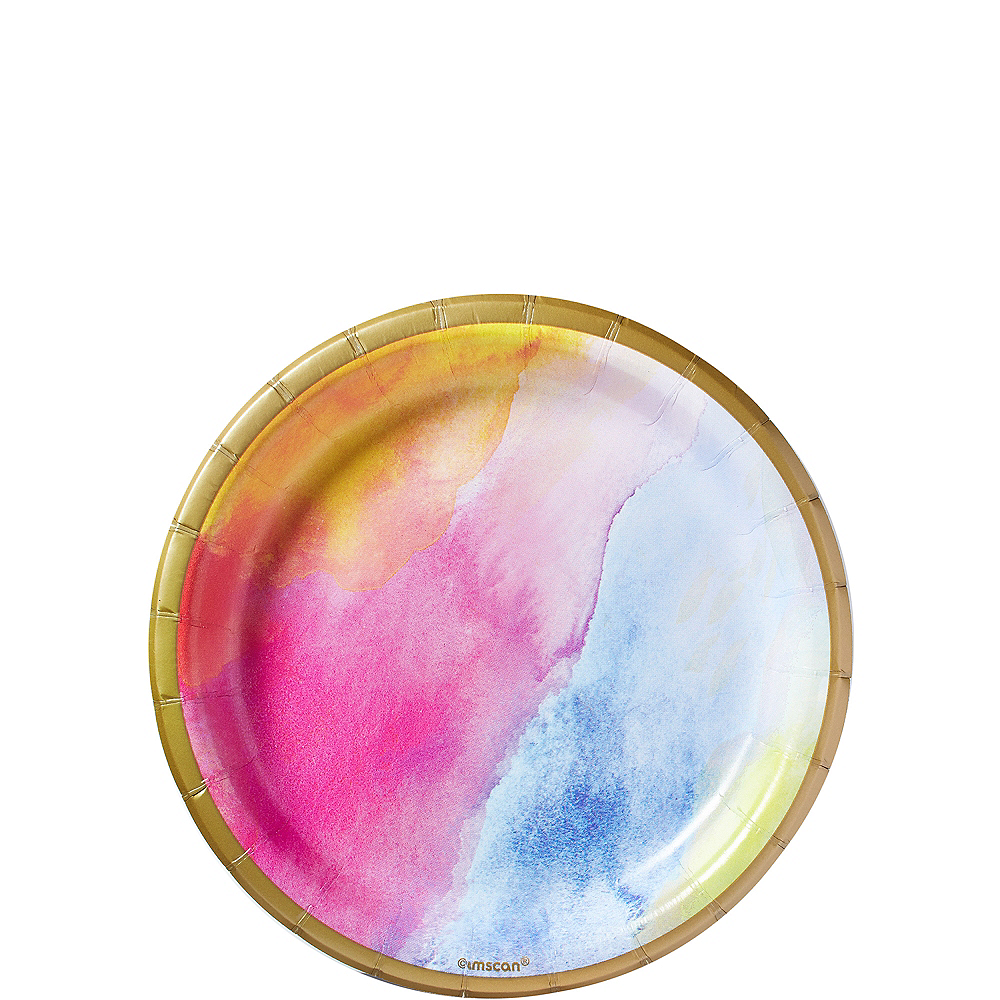 Nav Item for Watercolor Rainbow Dessert Plates 8ct Image #1