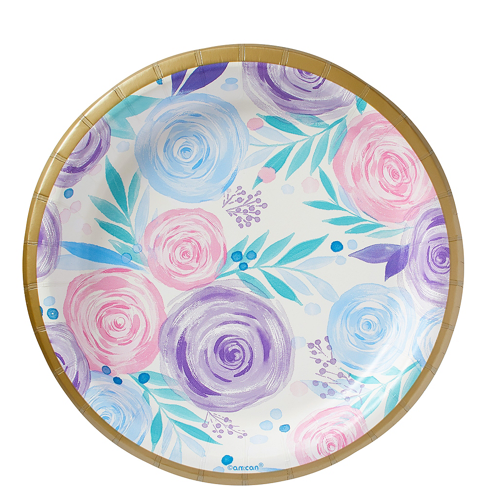 Pastel Floral Lunch Plates 8ct Image #1