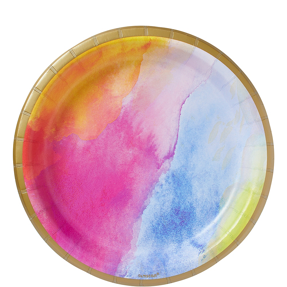 Watercolor Rainbow Lunch Plates 8ct Image #1