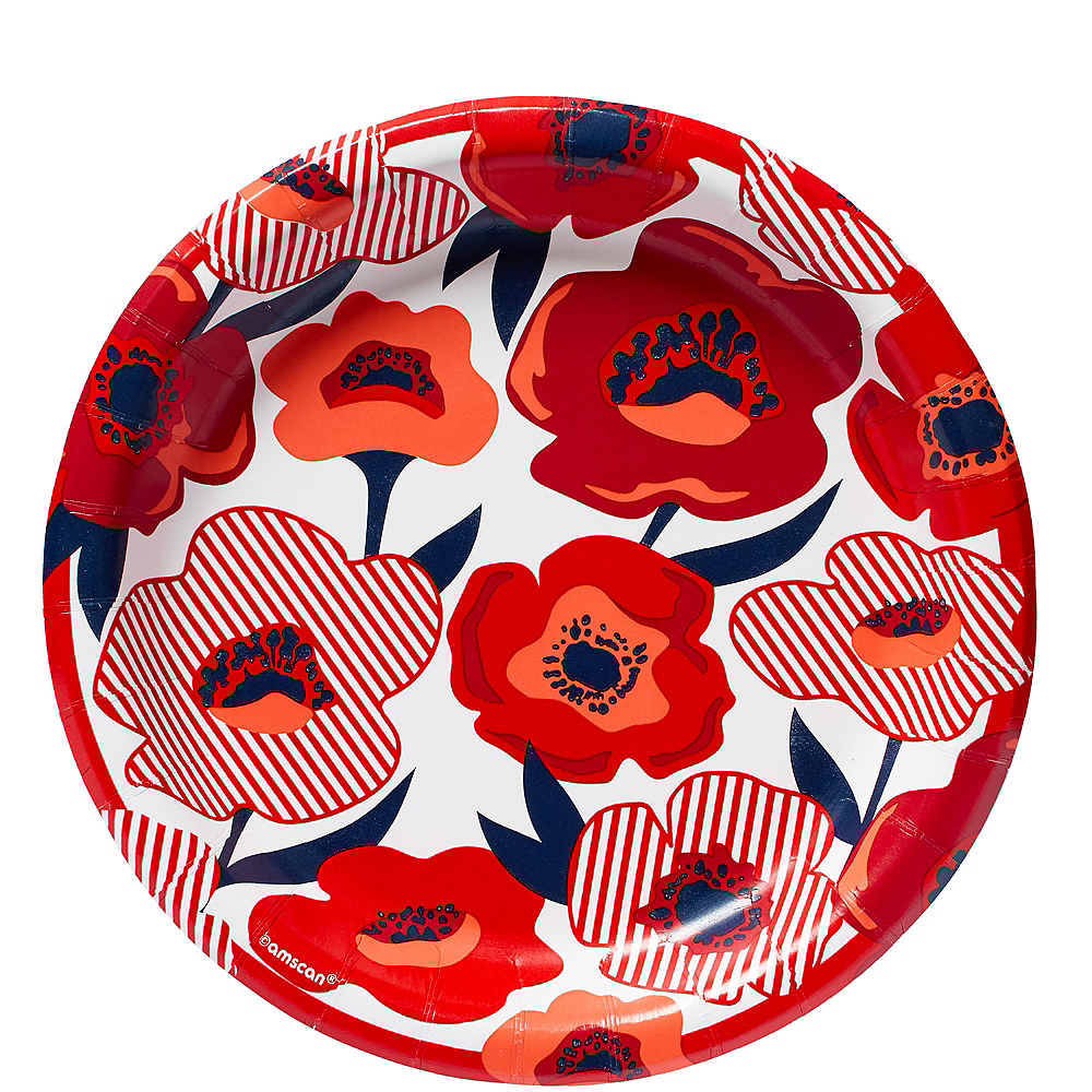 Red Poppy Lunch Plates 8ct Image #1