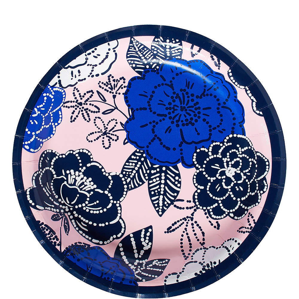 Royal Blue Floral Lunch Plates 8ct Image #1
