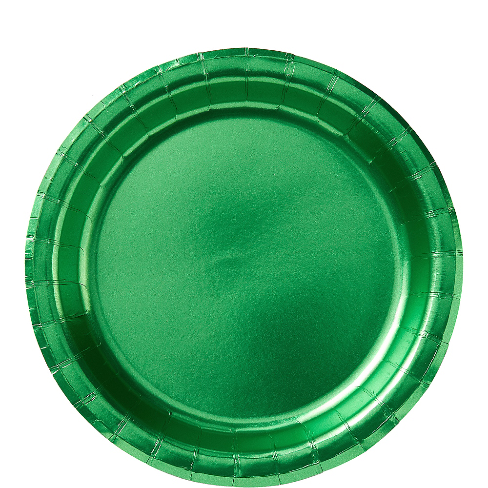 Metallic Festive Green Lunch Plates 8ct Image #1