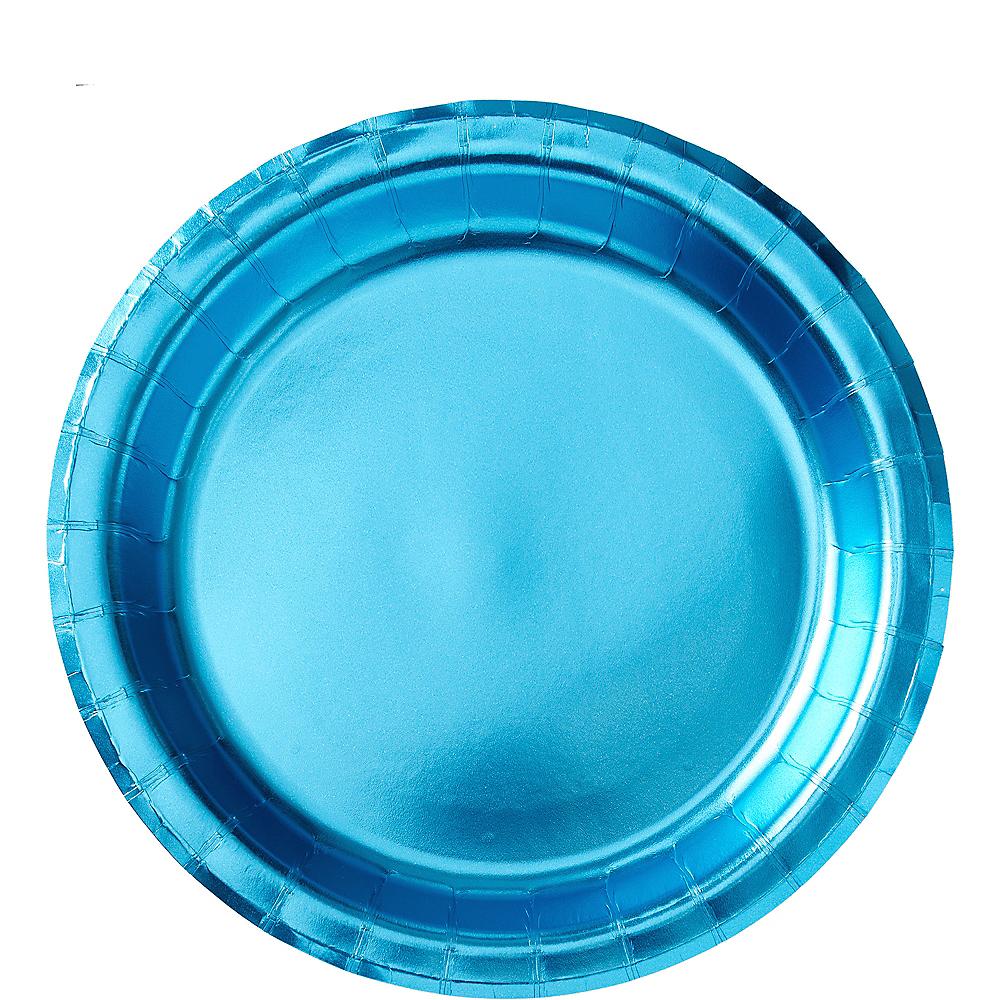 Metallic Caribbean Blue Lunch Plates 8ct Image #1