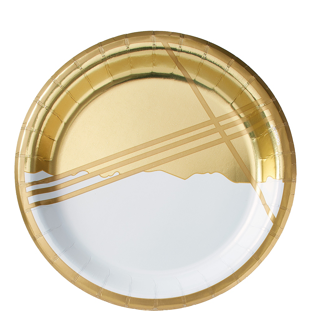 Metallic Gold Facet Lunch Plates 8ct Image #1