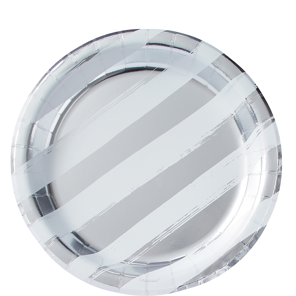 Metallic Silver Stripe Lunch Plates 8ct Image #1