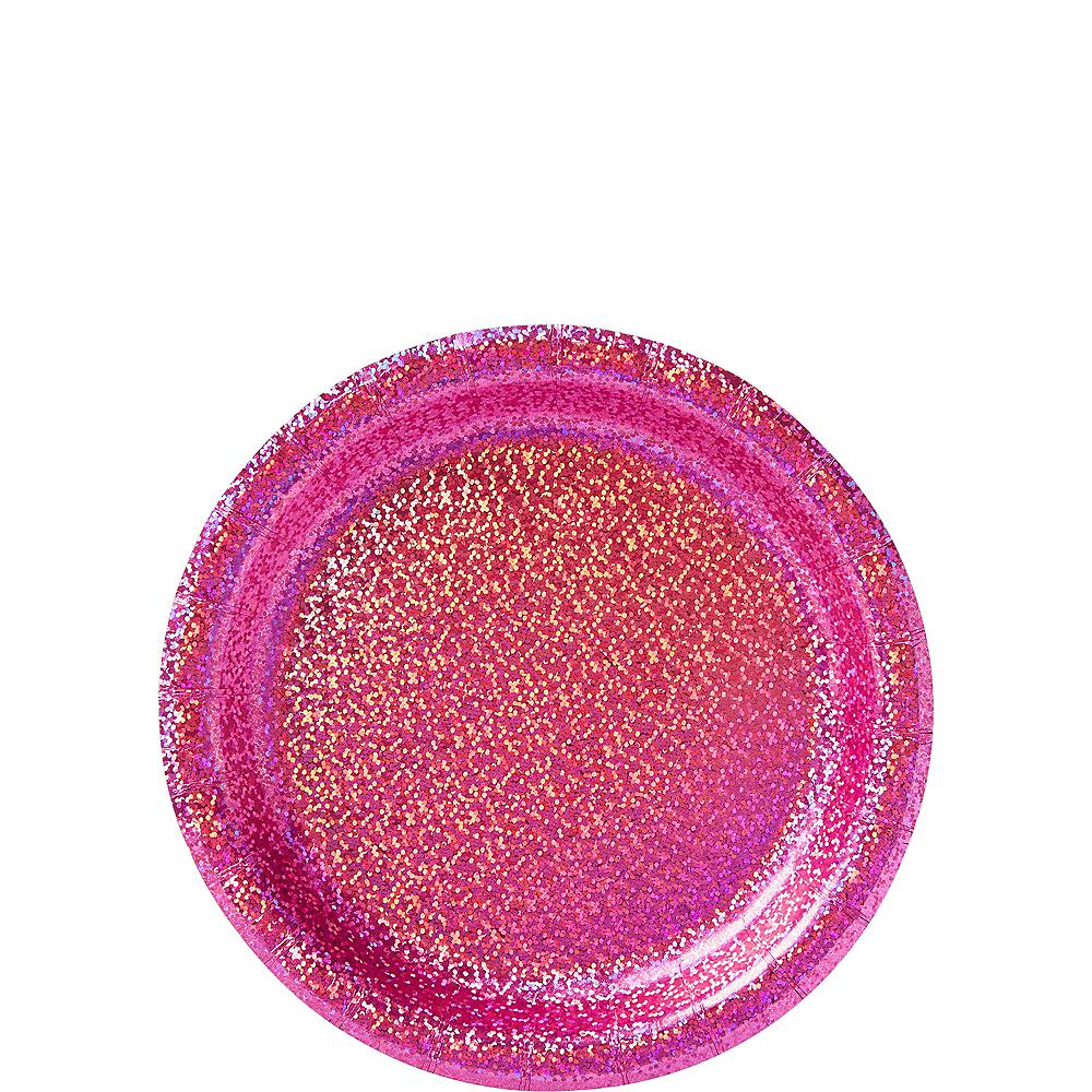 Prismatic Bright Pink Dessert Plates, 6.75in, 8ct Image #1