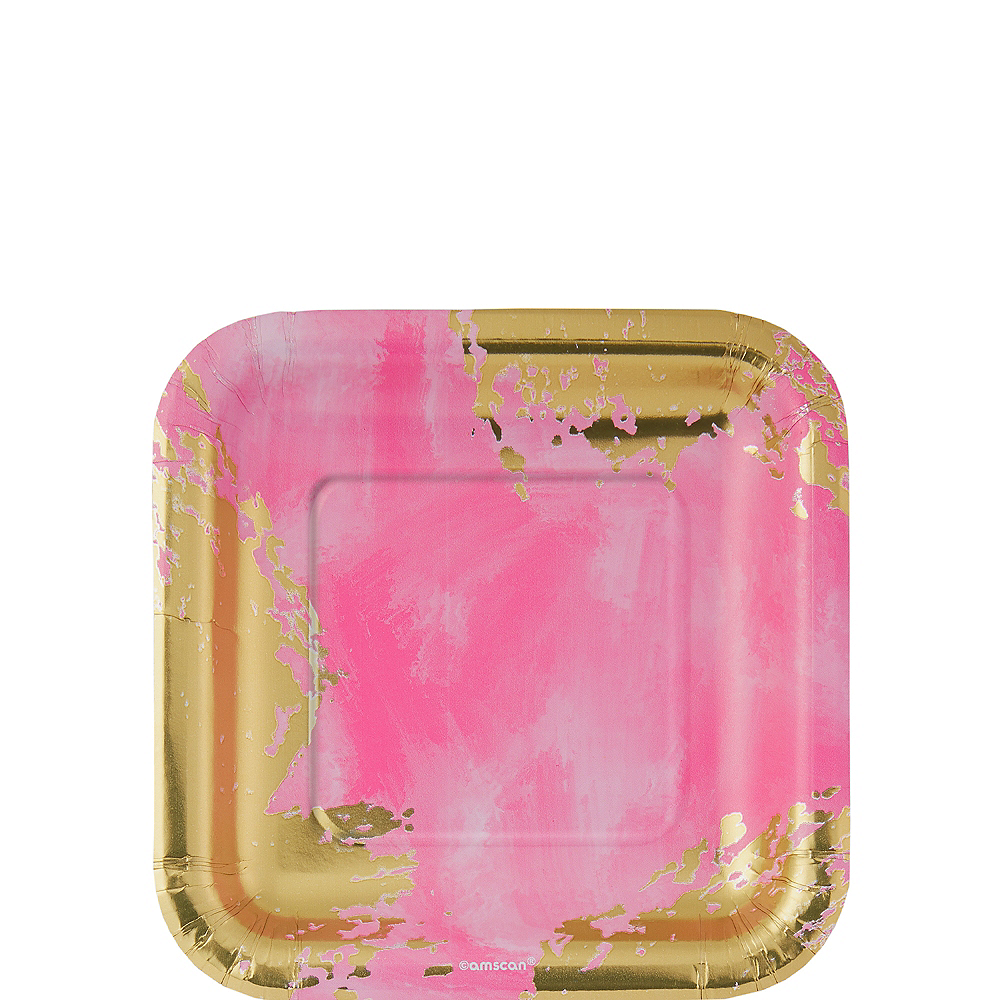 Nav Item for Metallic Pink Brushstroke Square Dessert Plates 8ct Image #1