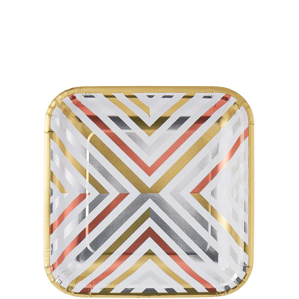Mixed Metallic Geometric Square Dessert Plates 8ct Image #1