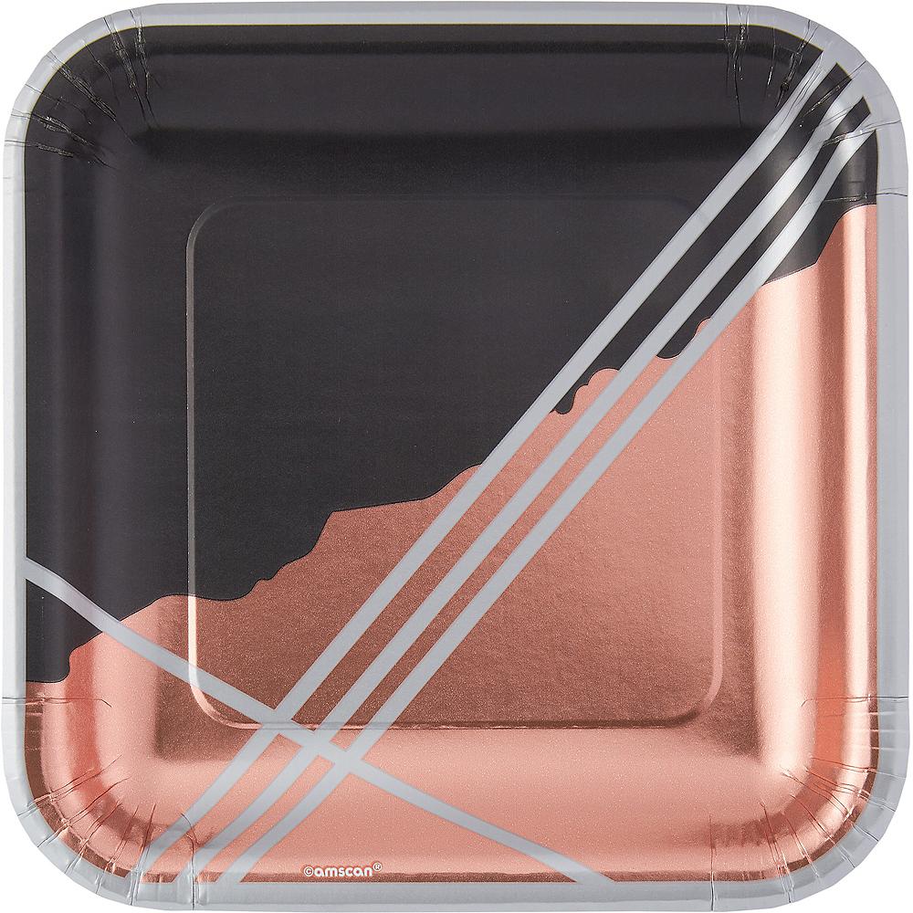 Metallic Black Facet Square Lunch Plates 8ct Image #1