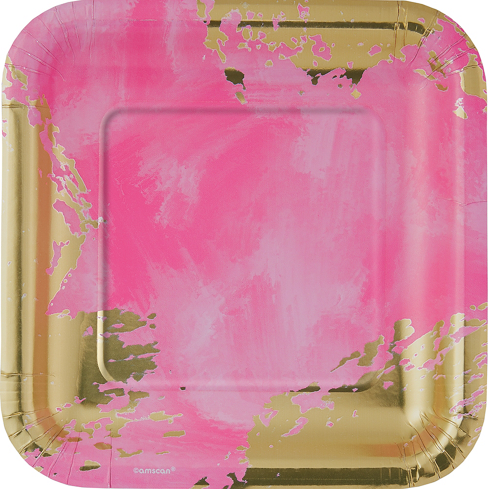 Metallic Pink Brushstroke Square Lunch Plates 8ct Image #1