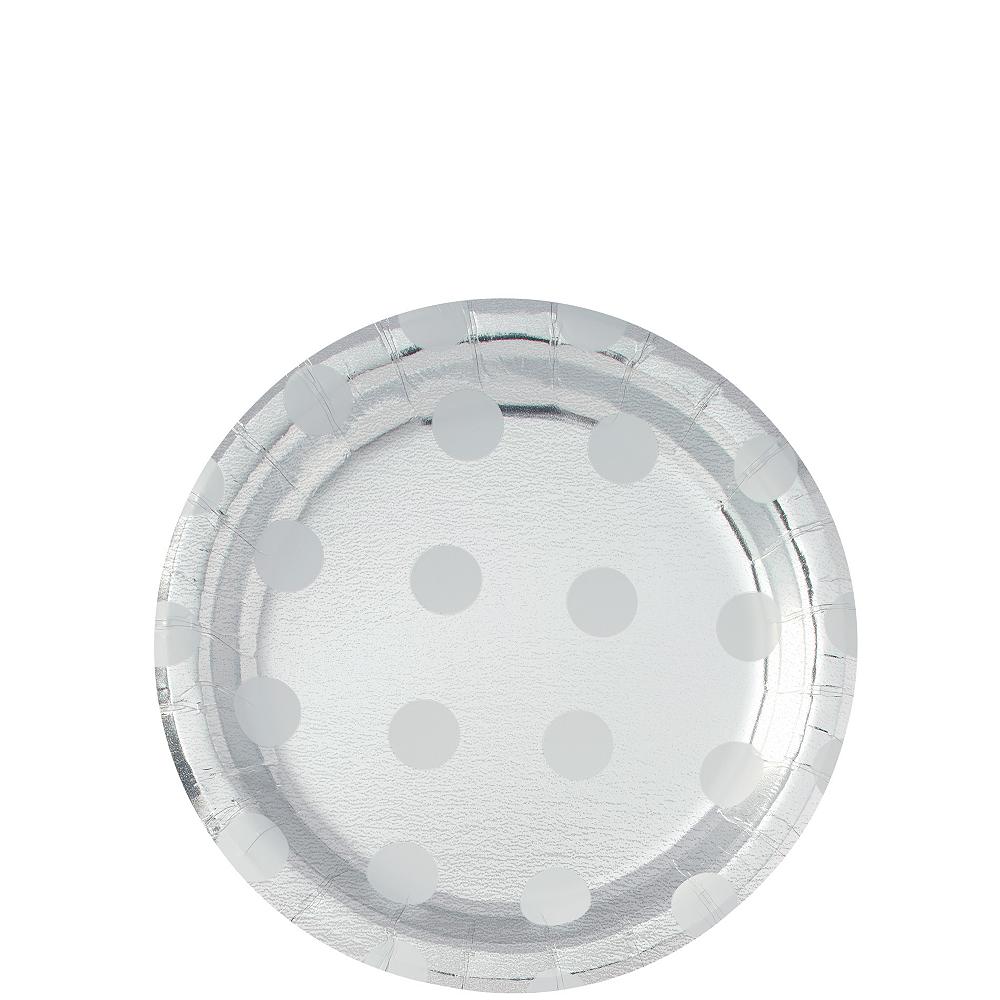 Metallic Silver Polka Dot Dessert Plates 8ct Image #1