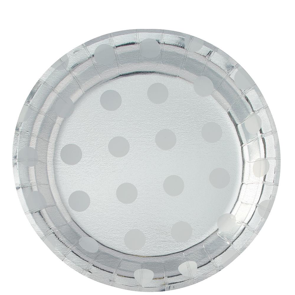 Metallic Silver Polka Dot Lunch Plates 8ct Image #1