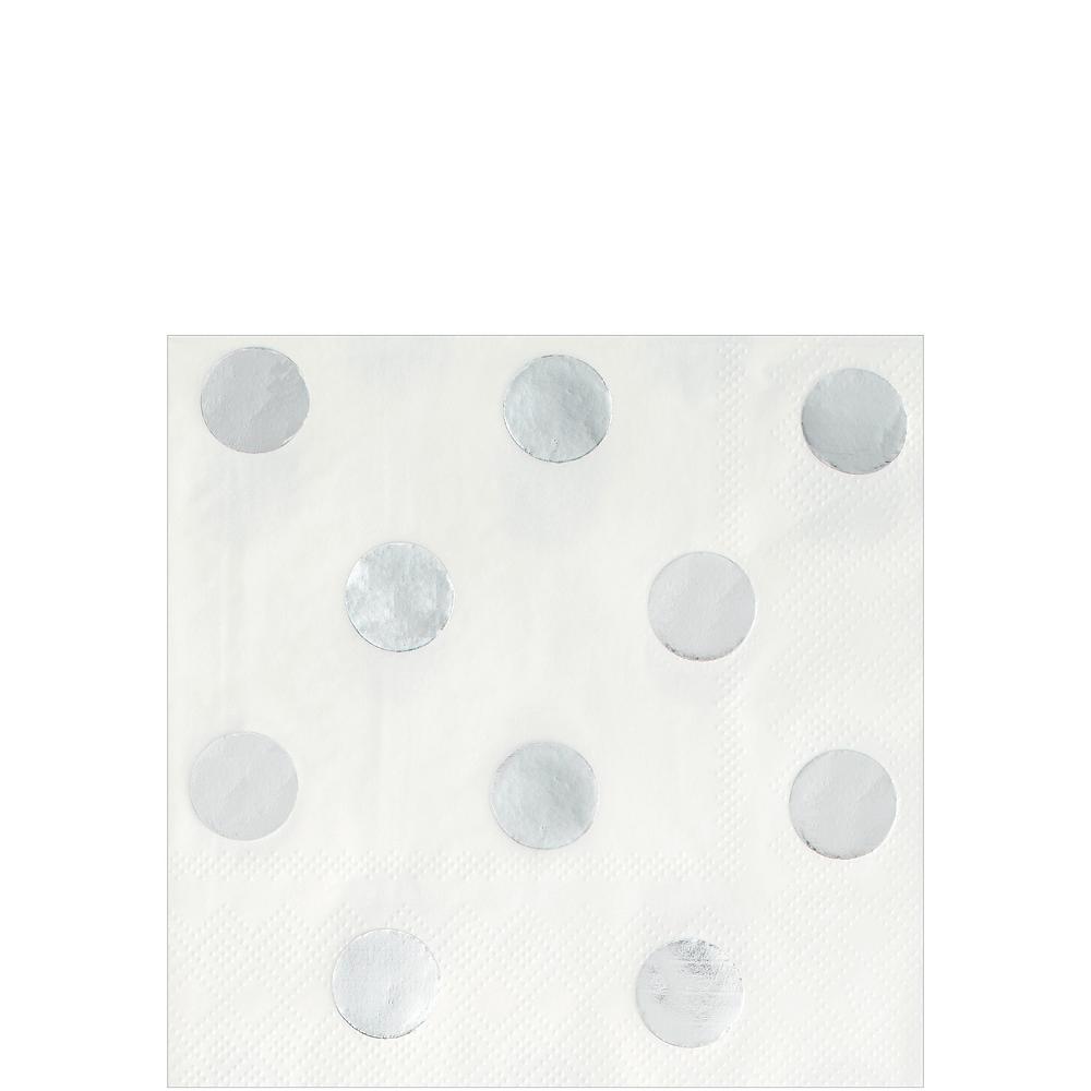 Metallic Silver Polka Dot Beverage Napkins 16ct Image #1