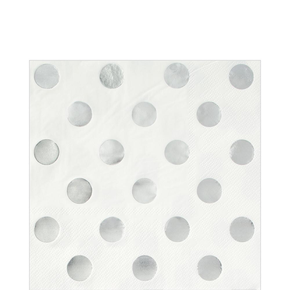 Metallic Silver Polka Dot Lunch Napkins 16ct Image #1