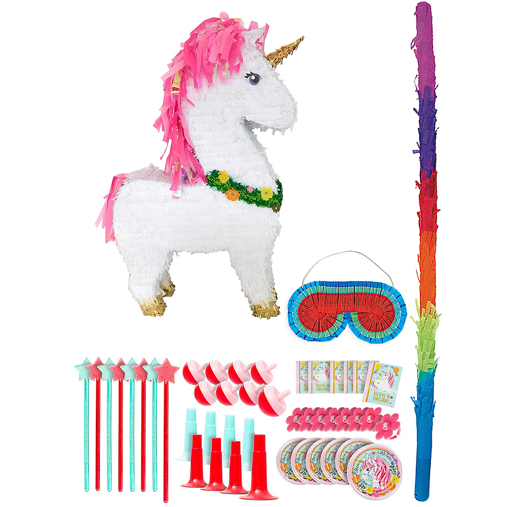 Giant Sparkling Unicorn Pinata Kit with Favors Image #1
