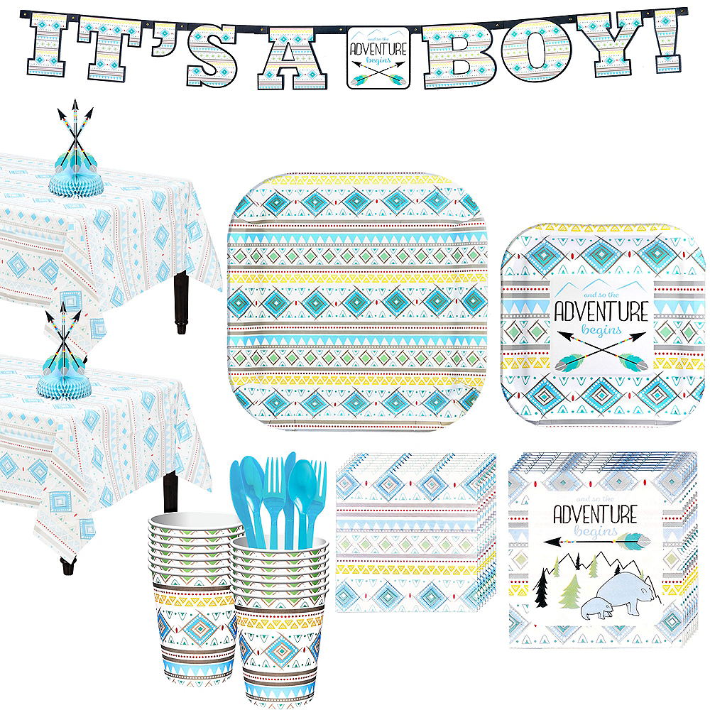 Blue Adventure Begins Baby Shower Kit for 16 Guests Image #1