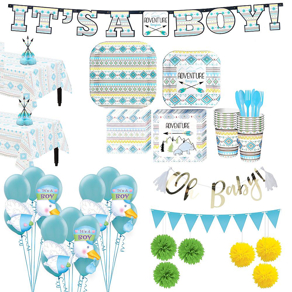 Blue Adventure Begins Premium Baby Shower Kit for 32 Guests Image #1