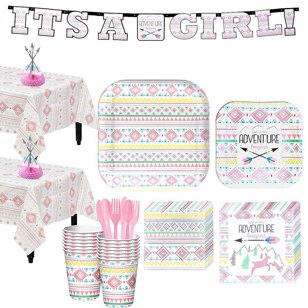Pink Adventure Begins Baby Shower Kit for 32 Guests Image #1