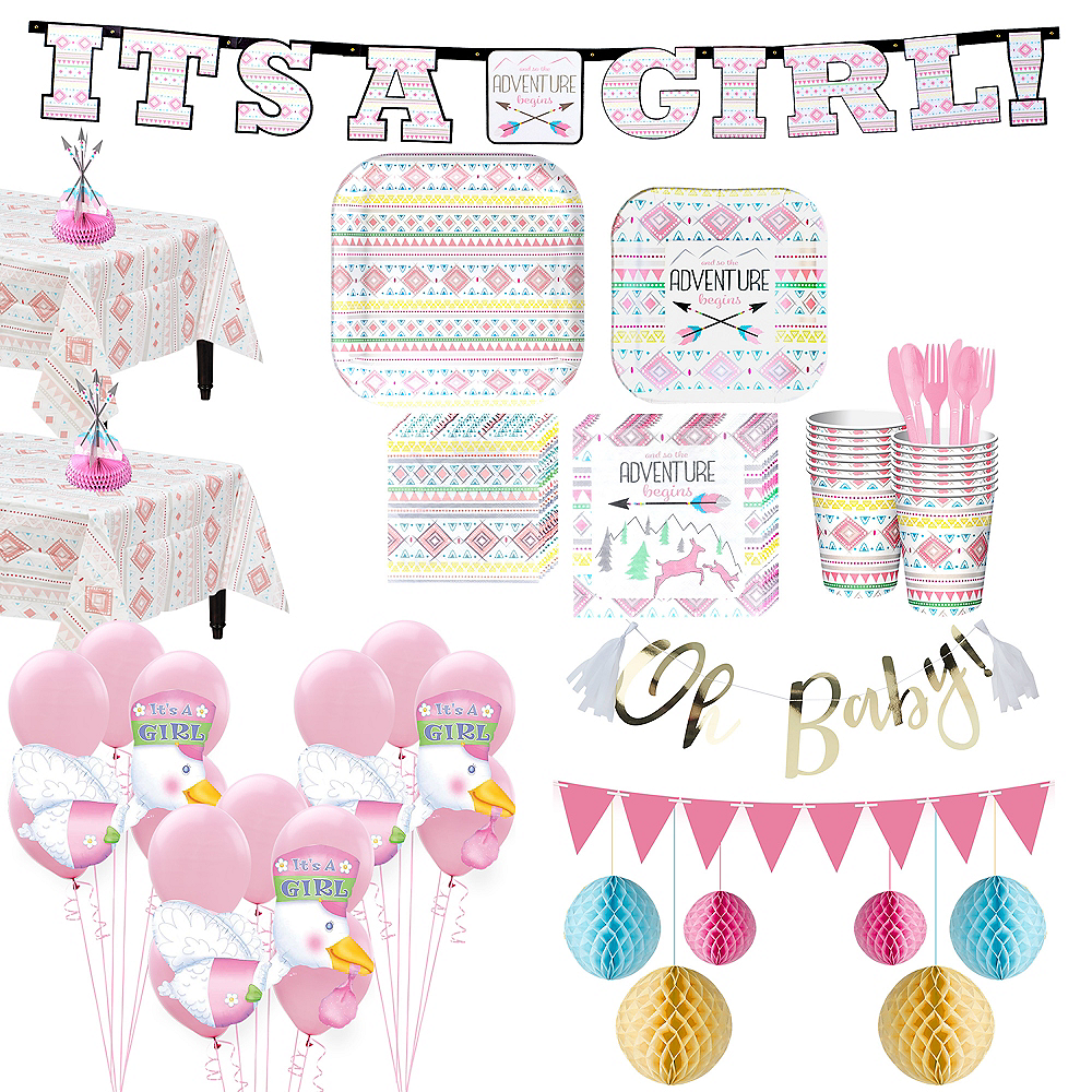 Pink Adventure Begins Premium Baby Shower Kit for 32 Guests Image #1
