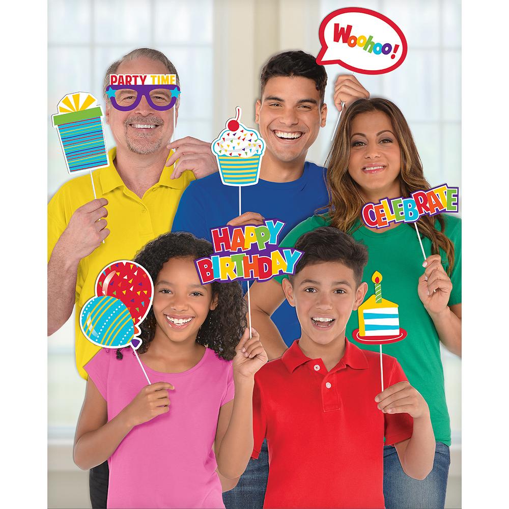 Rainbow Birthday Photo Booth Props 13ct Image #1