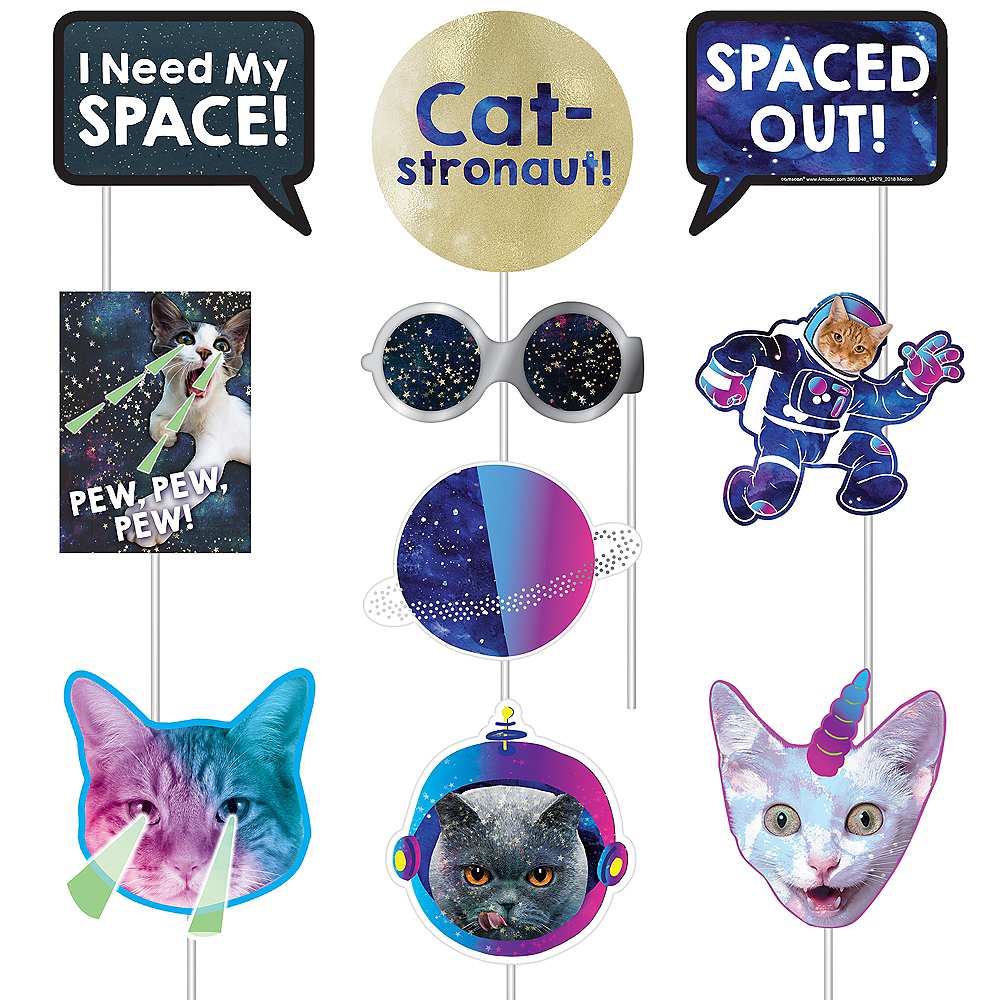 Space Cat Photo Booth Props 13ct Image #3