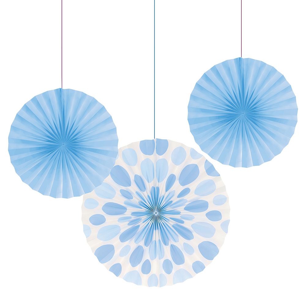 Pastel Blue Paper Fan Decorations 3ct Image #1