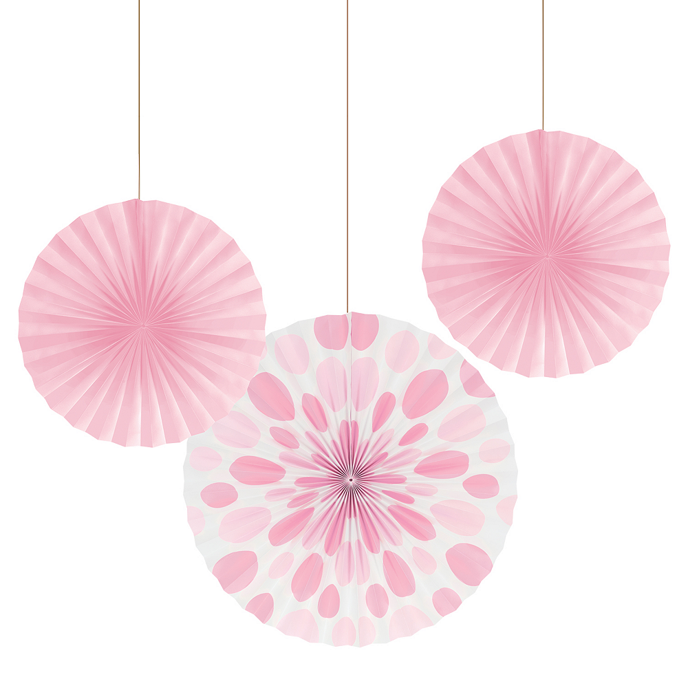 Light Pink Paper Fan Decorations 3ct Image #1