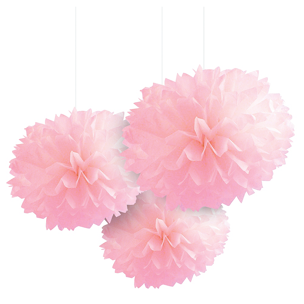 Light Pink Tissue Pom Poms 3ct Image #1
