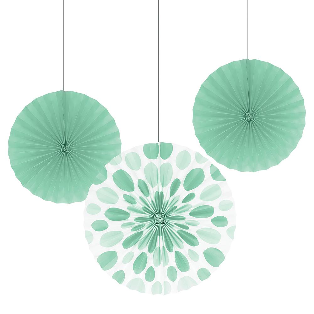 Mint Green Paper Fan Decorations 3ct Image #1