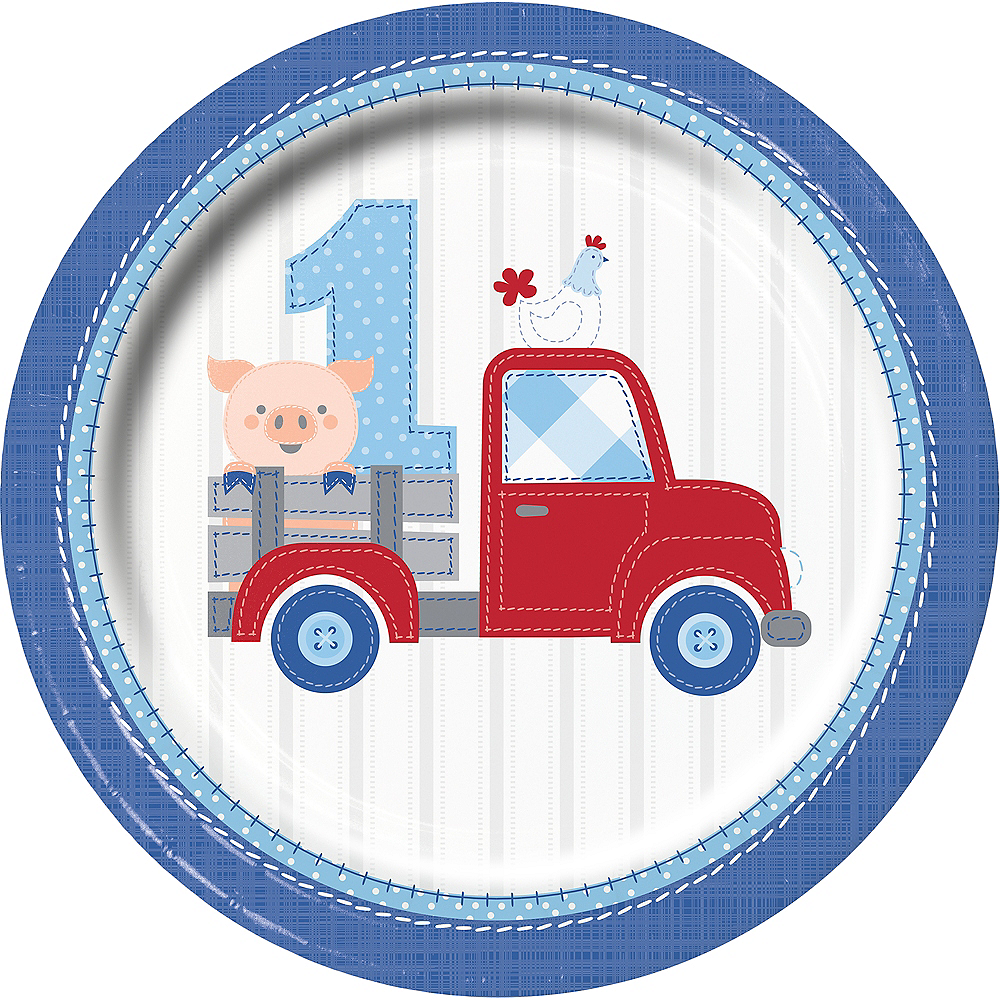 Blue Farmhouse 1st Birthday Lunch Plates 8ct
