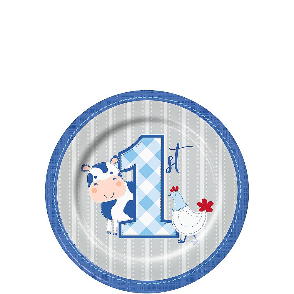 Blue Farmhouse 1st Birthday Dessert Plates 8ct Image #1