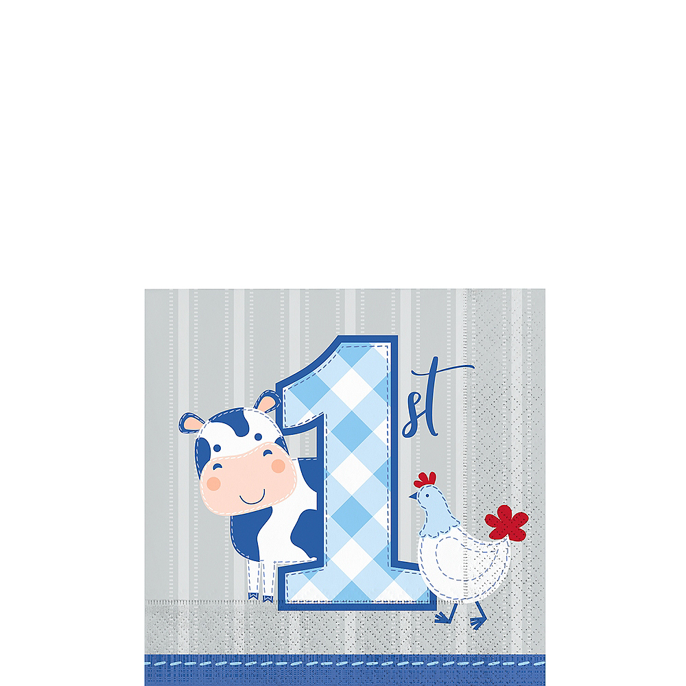 Blue Farmhouse 1st Birthday Beverage Napkins 16ct Image #1