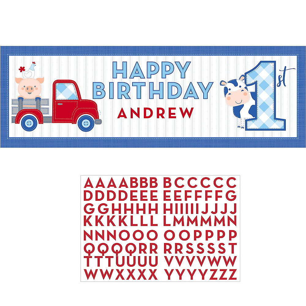 Giant 1st Birthday Blue Farmhouse Personalized Banner Kit Image #1
