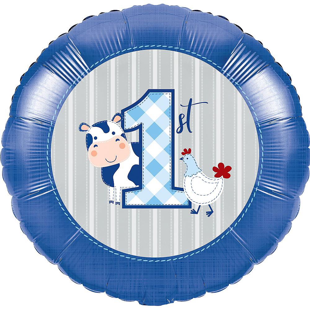 Blue Farmhouse 1st Birthday Balloon Image #1