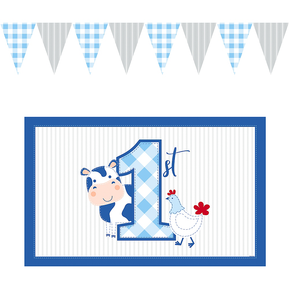 Blue Farmhouse 1st Birthday High Chair Kit 2pc Image #2