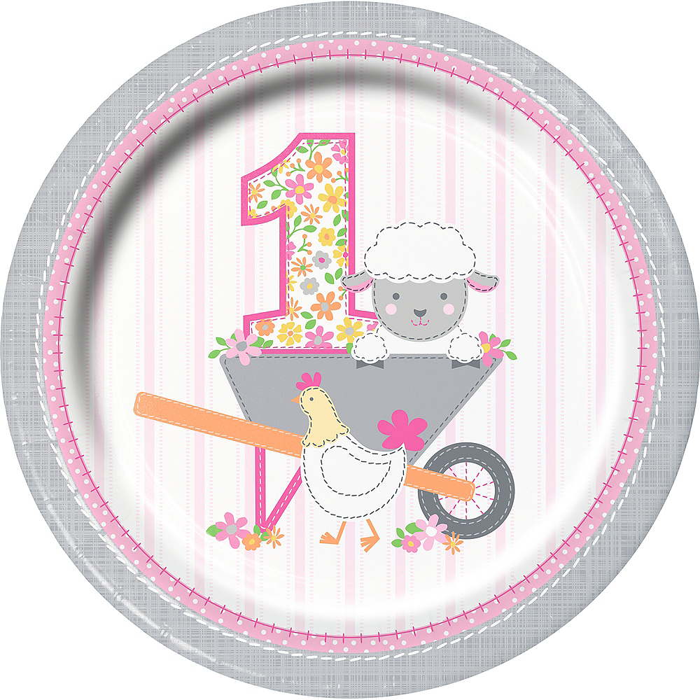 Pink Farmhouse 1st Birthday Lunch Plates 8ct Image #1