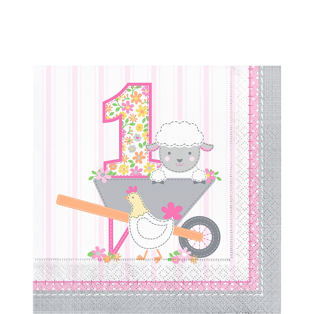 Pink Farmhouse 1st Birthday Lunch Napkins 16ct Image #1
