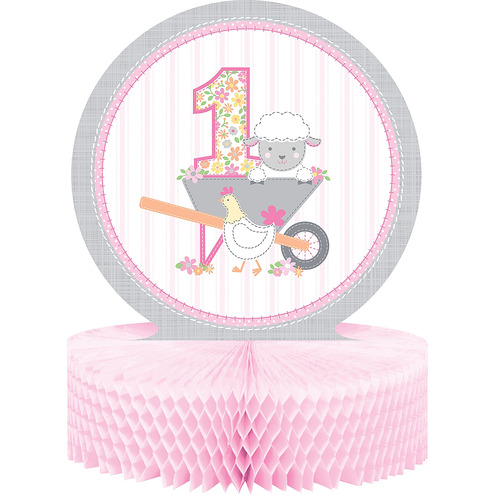 Pink Farmhouse 1st Birthday Honeycomb Centerpiece Image #1