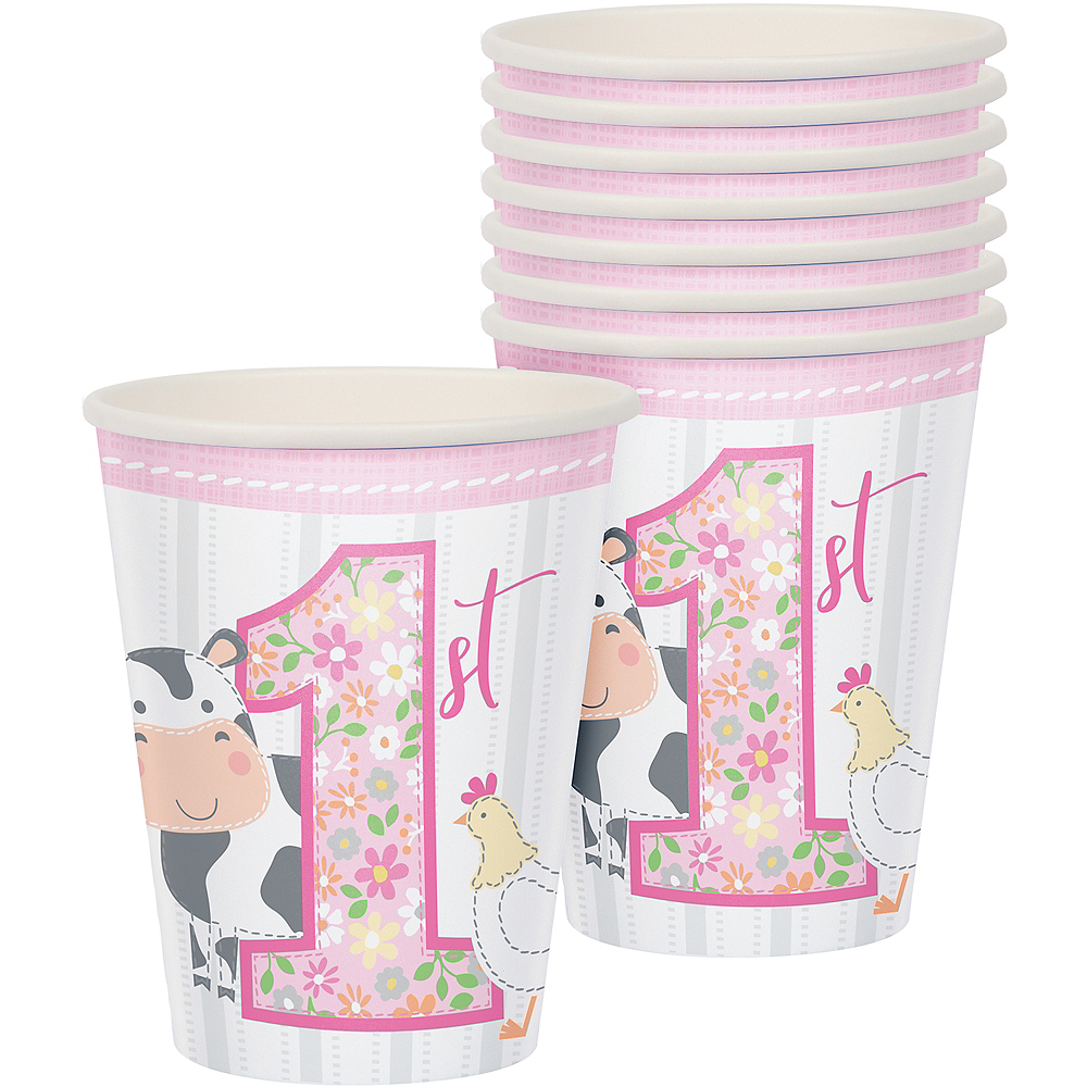 Pink Farmhouse 1st Birthday Cups 8ct Image #1