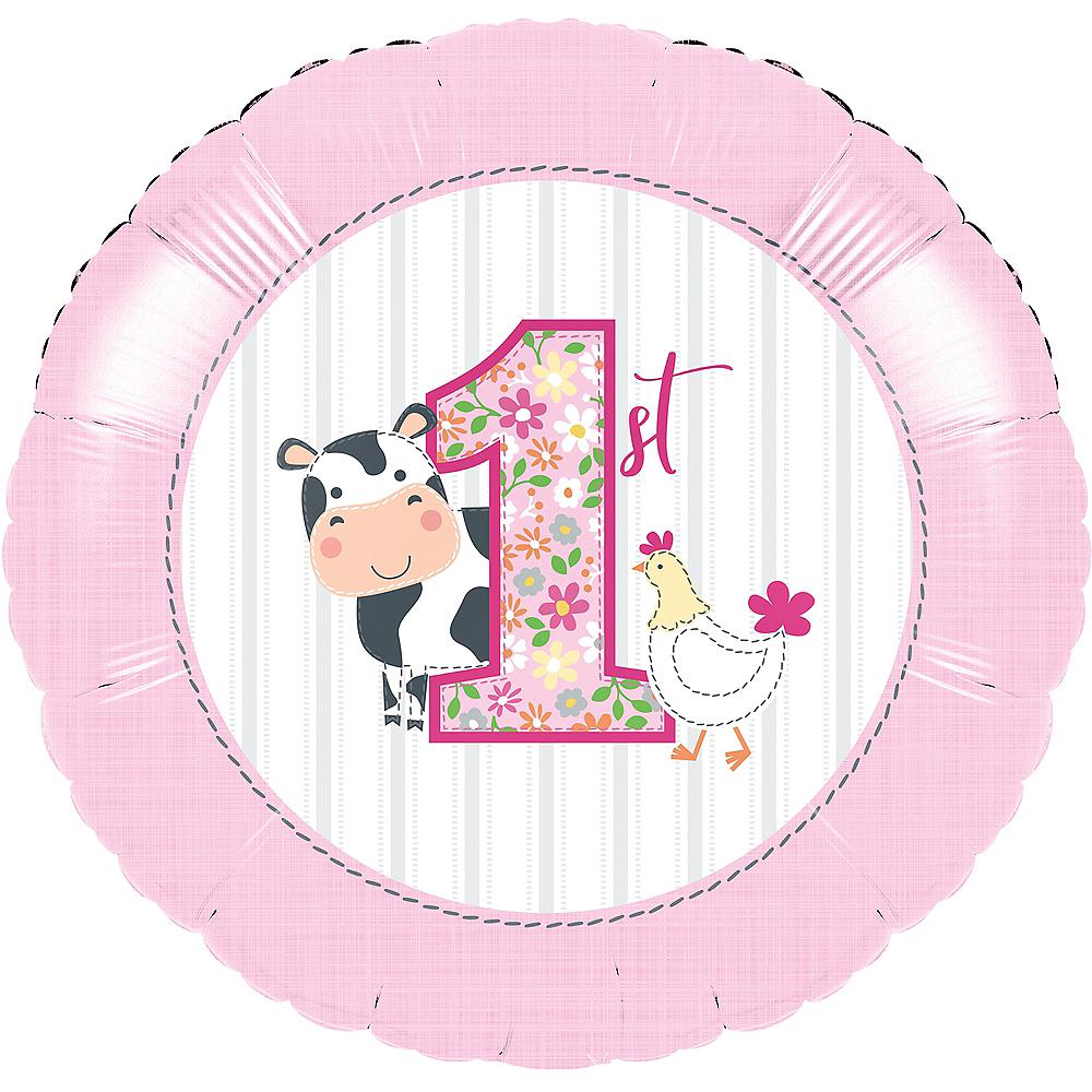 Pink Farmhouse 1st Birthday Balloon Image #1