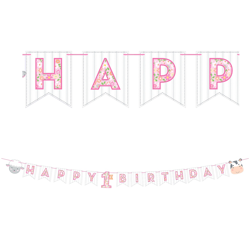 Pink Farmhouse 1st Birthday Pennant Banner Image #1