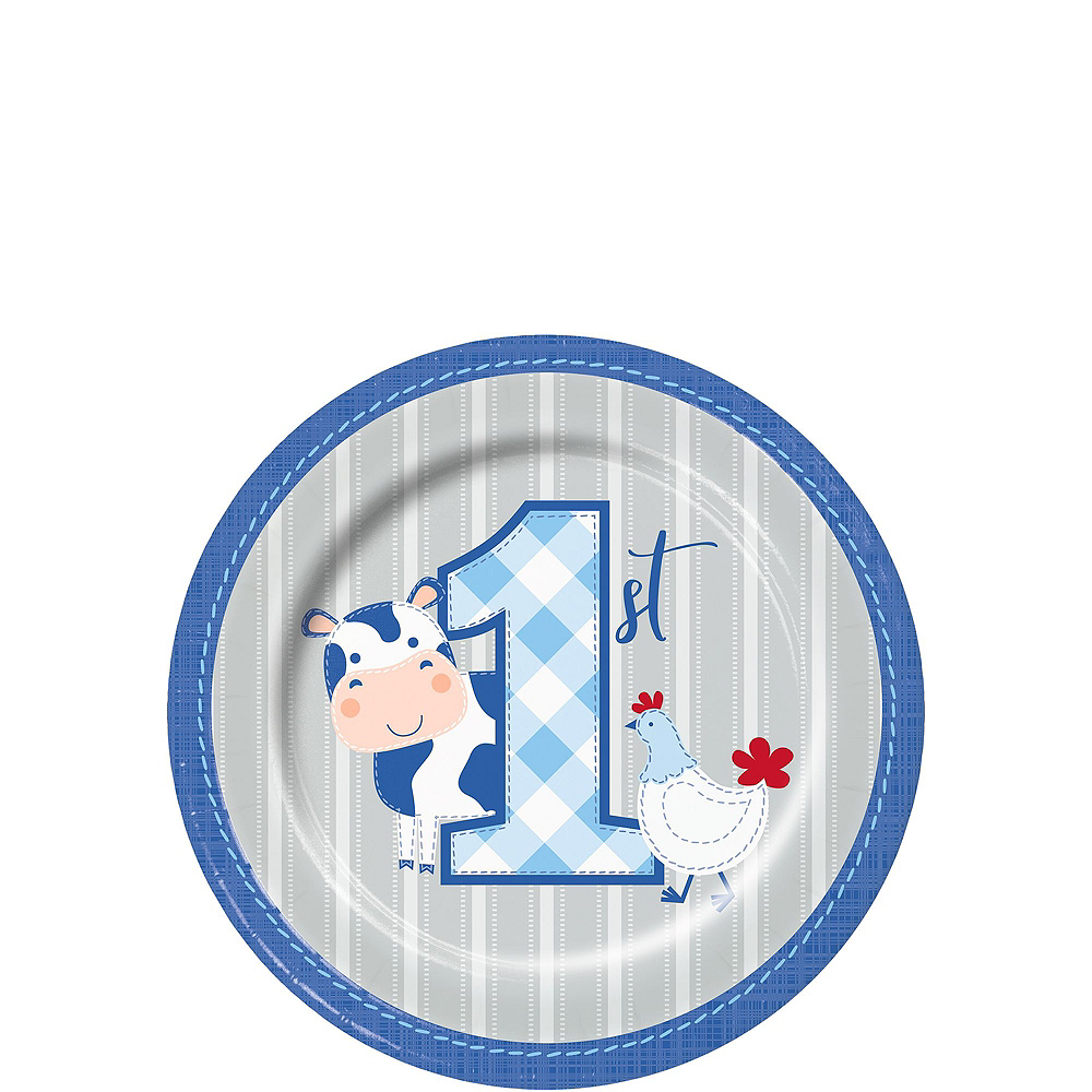 Blue Farmhouse 1st Birthday Tableware Kit for 16 Guests Image #2