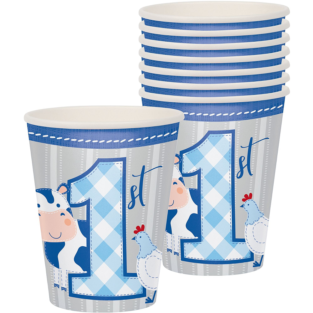 Blue Farmhouse 1st Birthday Tableware Kit for 16 Guests Image #6