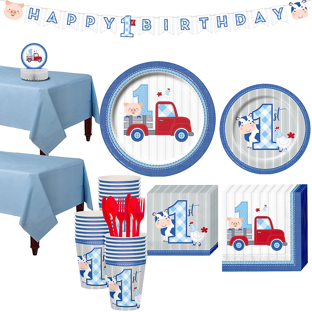 Blue Farmhouse 1st Birthday Tableware Kit for 32 Guests Image #1