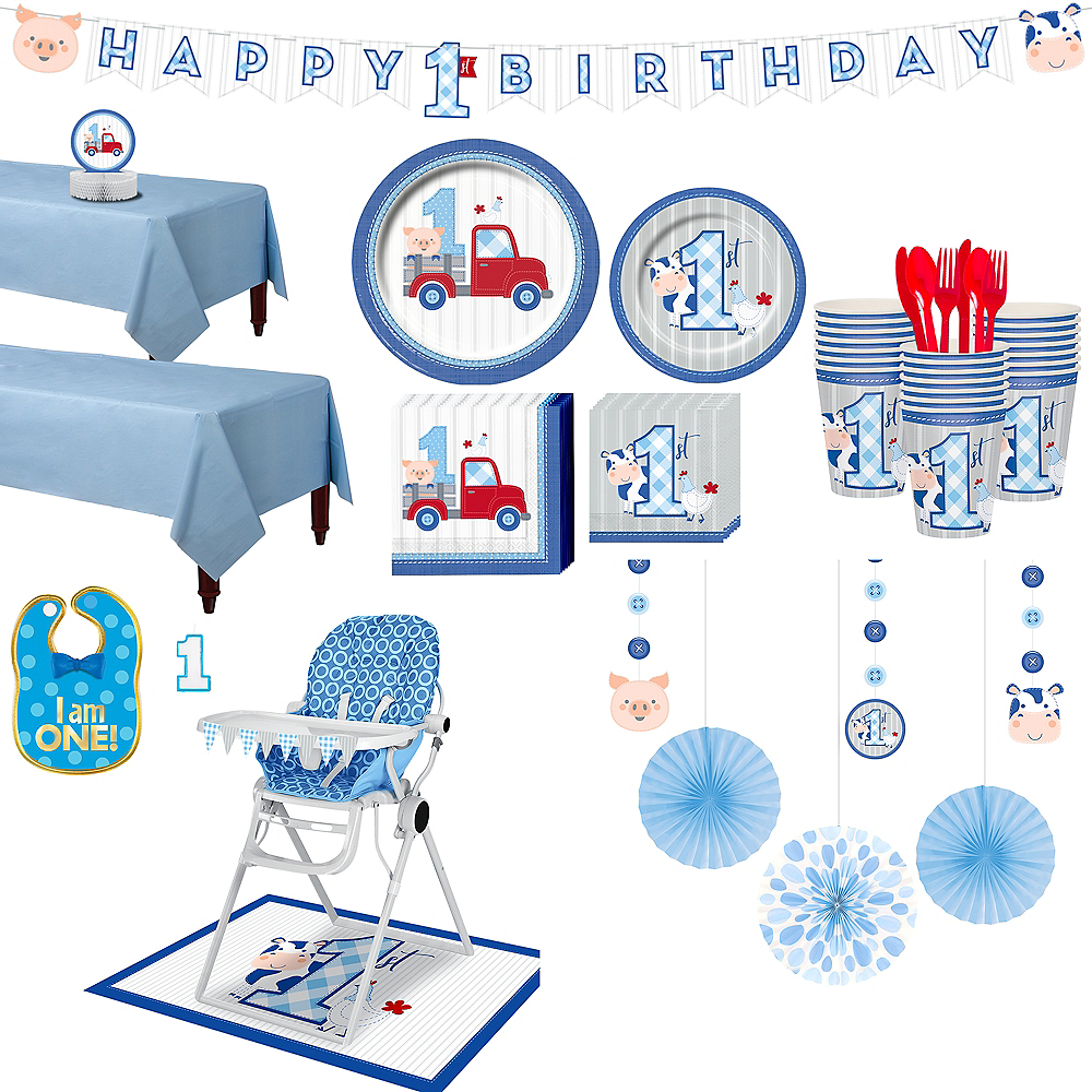 Ultimate Blue Farmhouse 1st Birthday Party Kit for 32 Guests Image #1