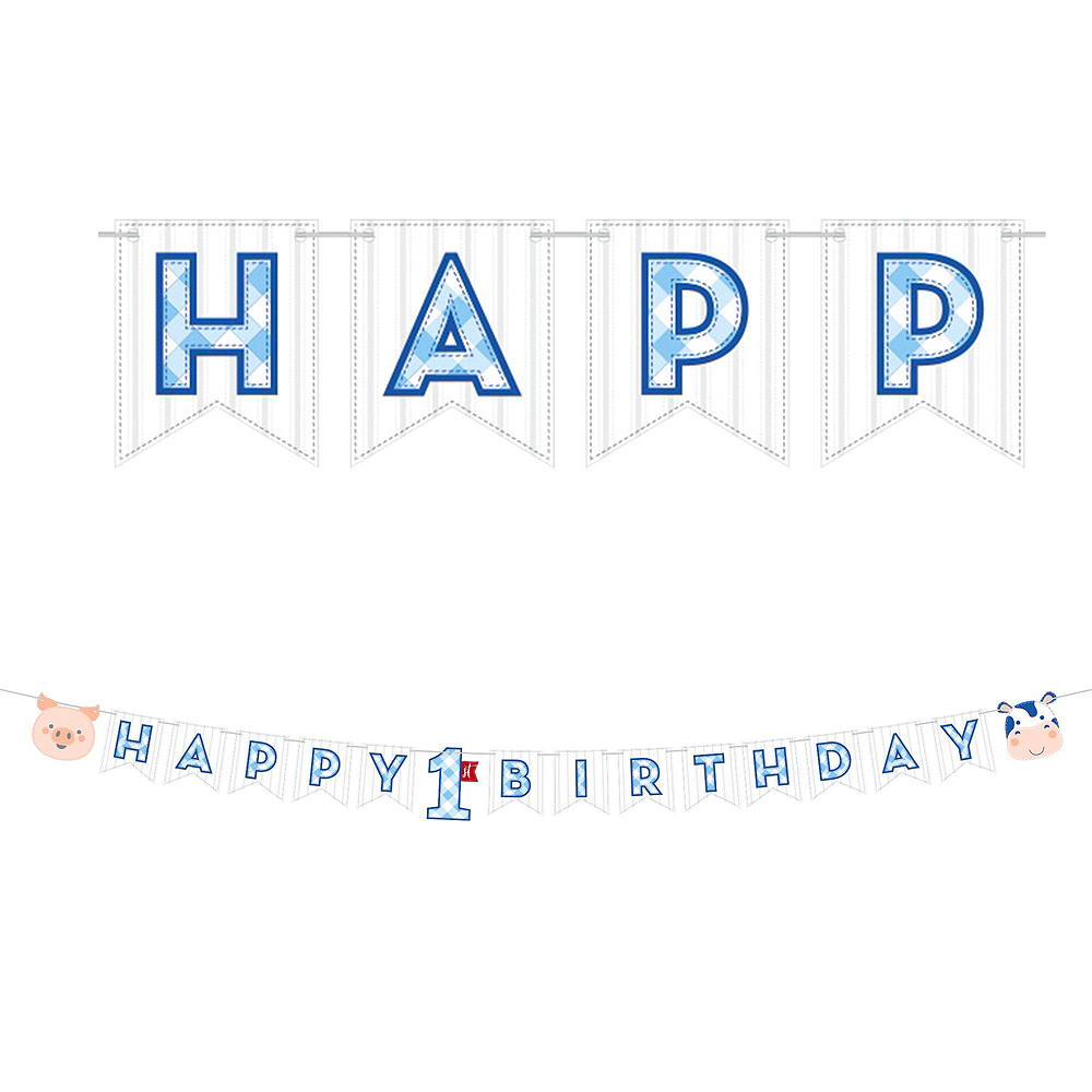 Ultimate Blue Farmhouse 1st Birthday Party Kit for 32 Guests Image #13