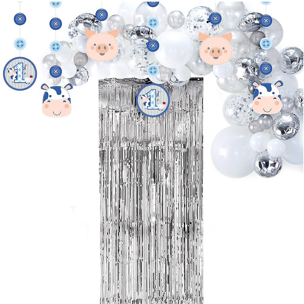 Blue Farmhouse 1st Birthday Decorating Kit Image #1